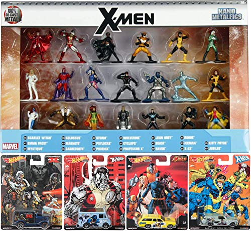 Jada X-Team Marvel Figure & Cars 25 Collection X-Men Mini Metal Character Set Wolverine / Storm / Cyclops / Phoenix / Colossus / Ice Man / Magneto / Rogue / Beast Super Hero Wheels