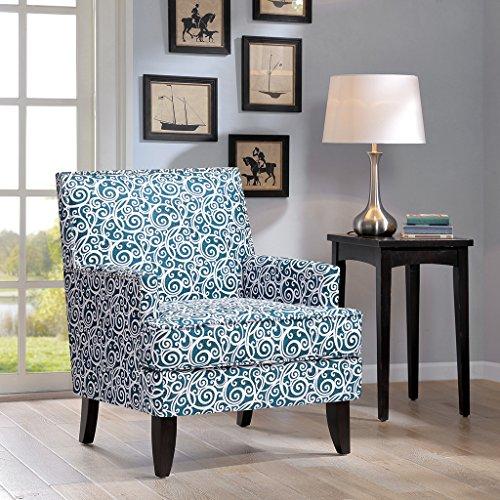 Colton Track Arm Club Chair Blue/White See Below
