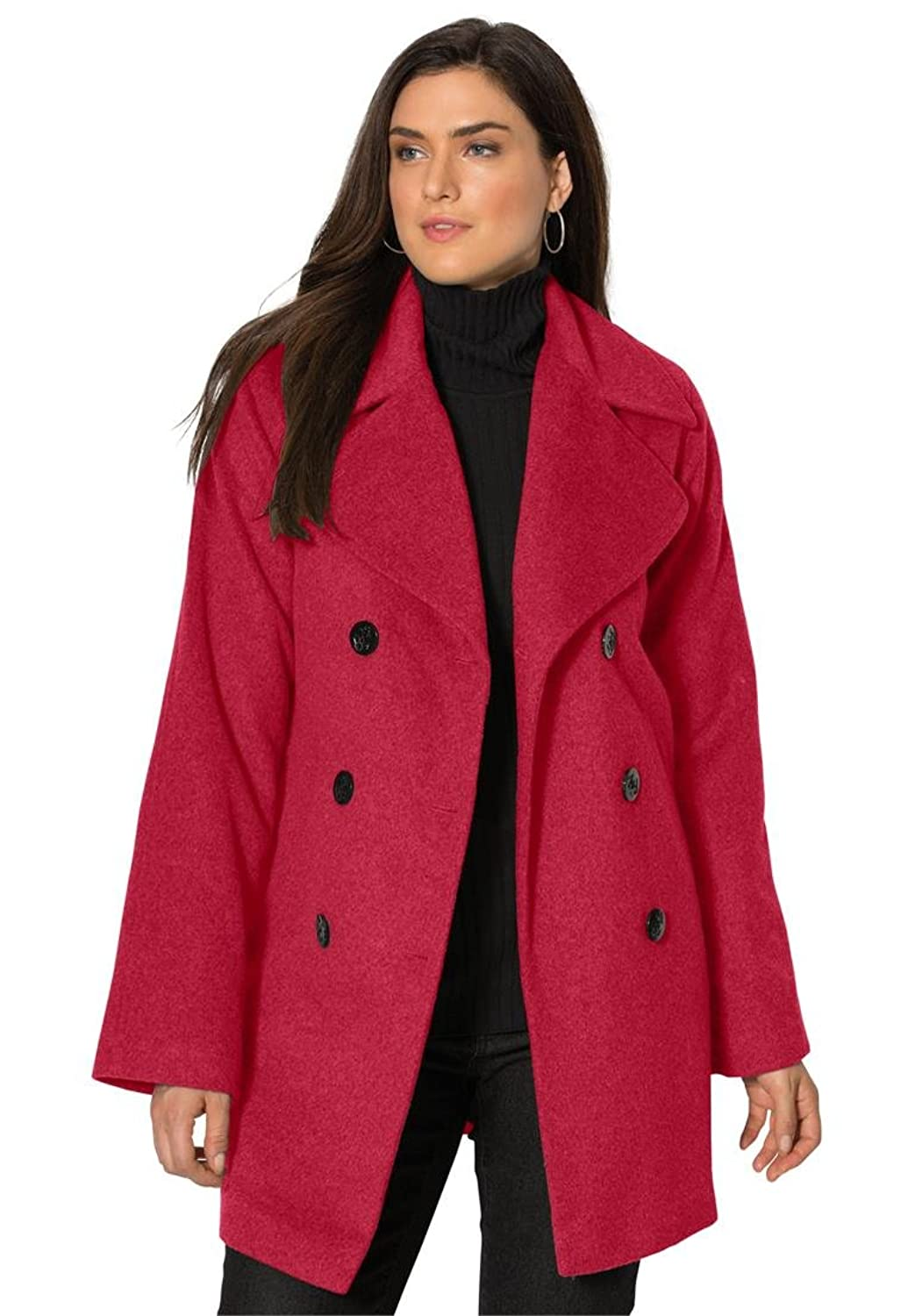 Jessica London Women's Plus Size Tall Classic Double Breasted Wool Coat