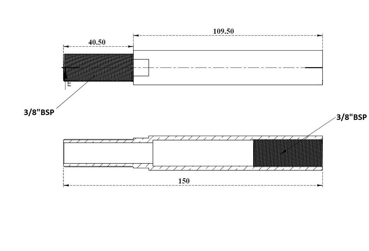 -22006 Aluids 3//8 x 4 Long CP Extension Nipple 4