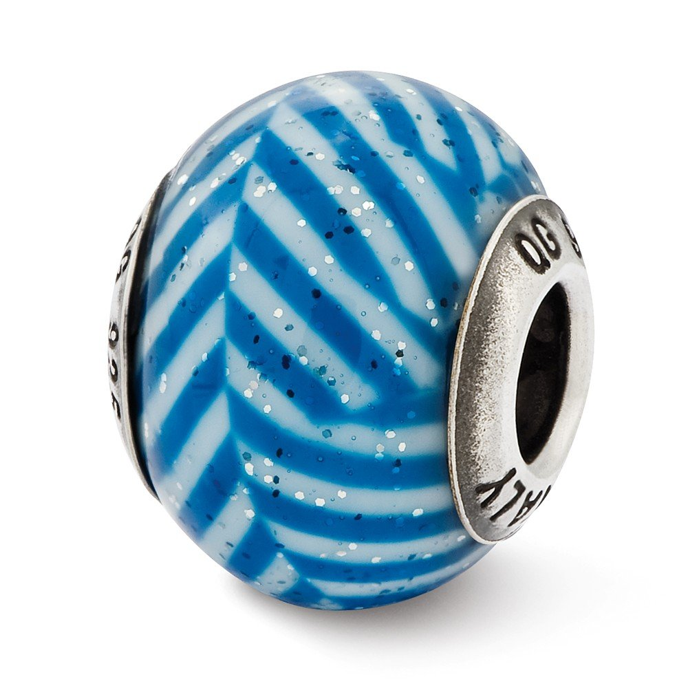 Sterling Silver Reflections Italian Blue Stripes with Glitter Bead