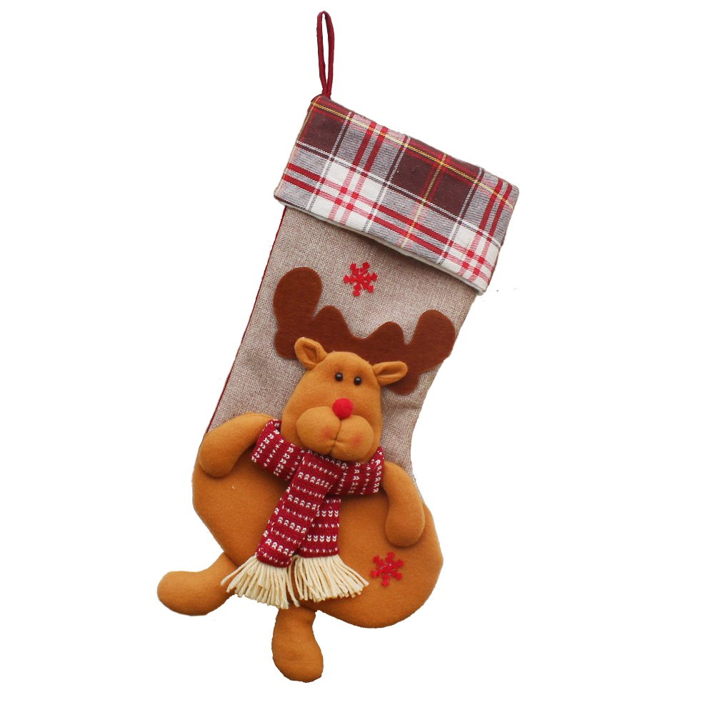 Amazon.com: EHOMEE Home Stocking Holder Christmas Stocking Holder Santa Claus Toys Stocking Festival Decoration Embroider Sock with Long Legs, ...