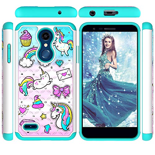 LG K30 Case,LG K10 2018 Case,LG Premier Pro LTE Case,Tznzxm 2 in 1 Dual Layer Back PC Silicone Bumper Shockproof Bling Diamond Sparkly Defender Non-Slip Protective Cover For LG K10 2018 Rainbow horse