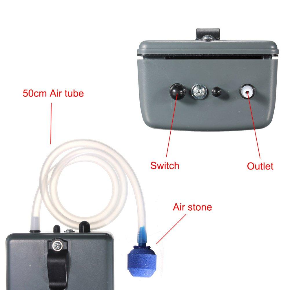 UnicLife Bomba Aire para Acuario de bater/ía port/átil 151L con piedras de aire y tubo de silicona para acuario pesca al aire libre