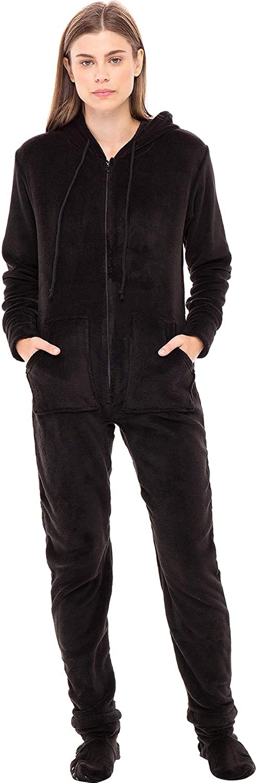 Alexander Del Rossa Women's Warm Fleece One Piece Footed Pajamas, Adult Onesie with Hood