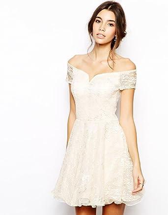 Chi Chi London Lace Prom Dress with Bardot Neck UK SIZE 14