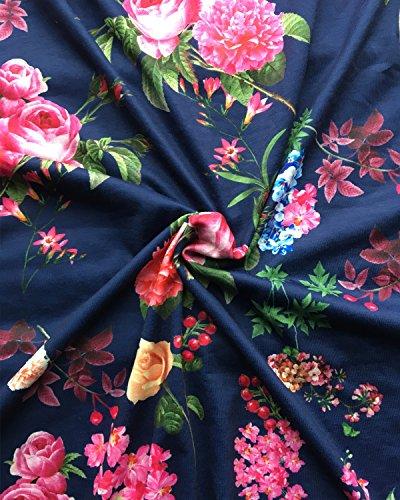 with Floral Casual MIROL Long Pockets Print Summer Sleeve Short Maxi Waist Women's Dress Navy High XxXfqw7
