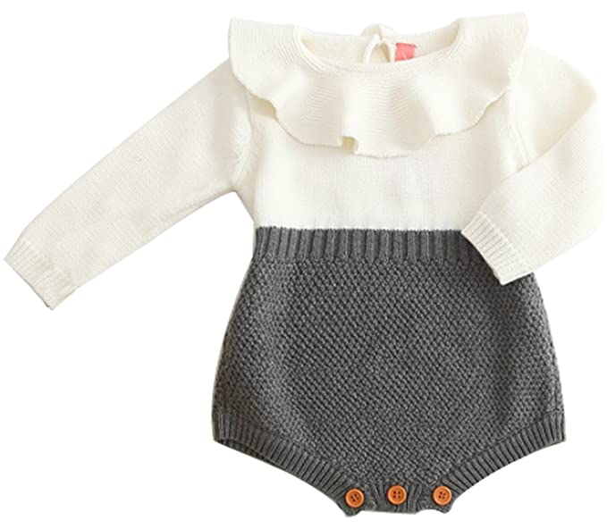 01fd568fb1ff Amazon.com  BANGELY Baby Girl Wool Knit Sweater Romper Princess Ruffle  Knitted Onesies Jumpsuit  Clothing