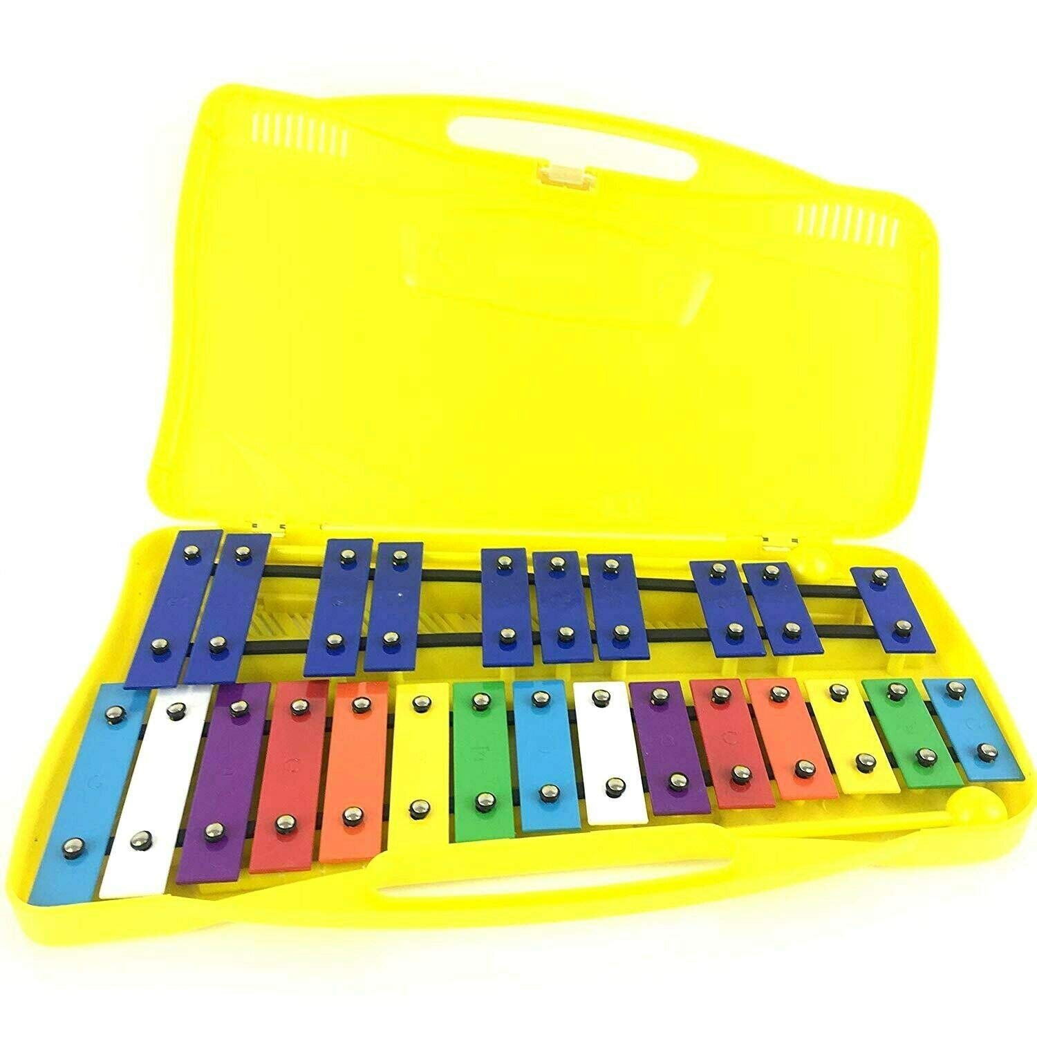 ProKussion Colourful Chromatic G5-G7 25 Note Glockenspiel Xylophone in Yellow Plastic Case