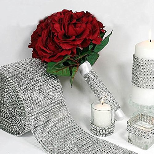 Chinatera Silver Wedding Diamond Mesh Wrap Roll Sparkle Rhinestone Crystal Ribbon Wedding Decorations, Party Supplies (4.6