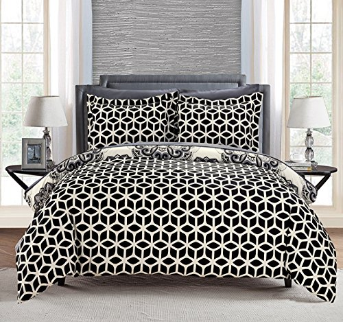 Large Floral Pattern - Chic Home 3 Piece Ibiza Super Soft Microfiber Large Printed Medallion Reversible With Geometric Printed Backing Duvet Cover Set, Full/Queen, Black
