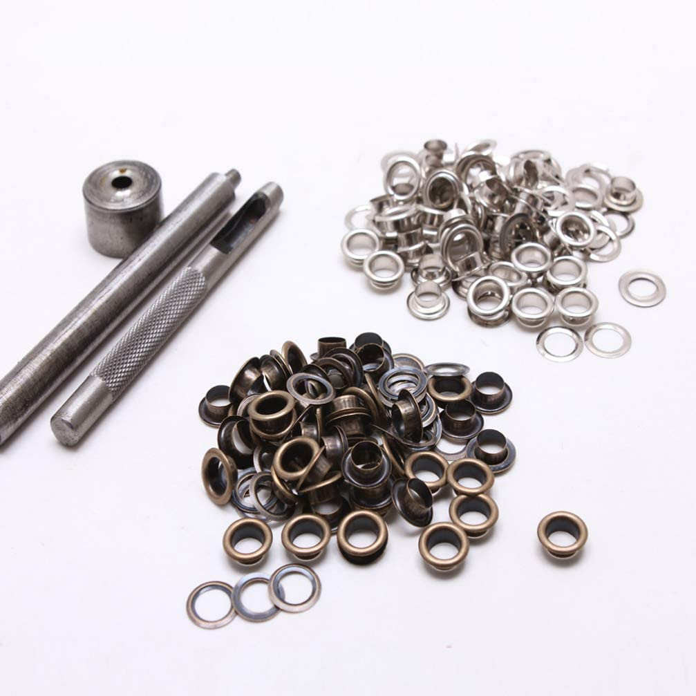 Diameter 4MM HEALLILY Grommets Kit Eyelet Kit with Install Tool for Home Repair Fabric Arts And Crafts Diameter Antique Brass+Silver