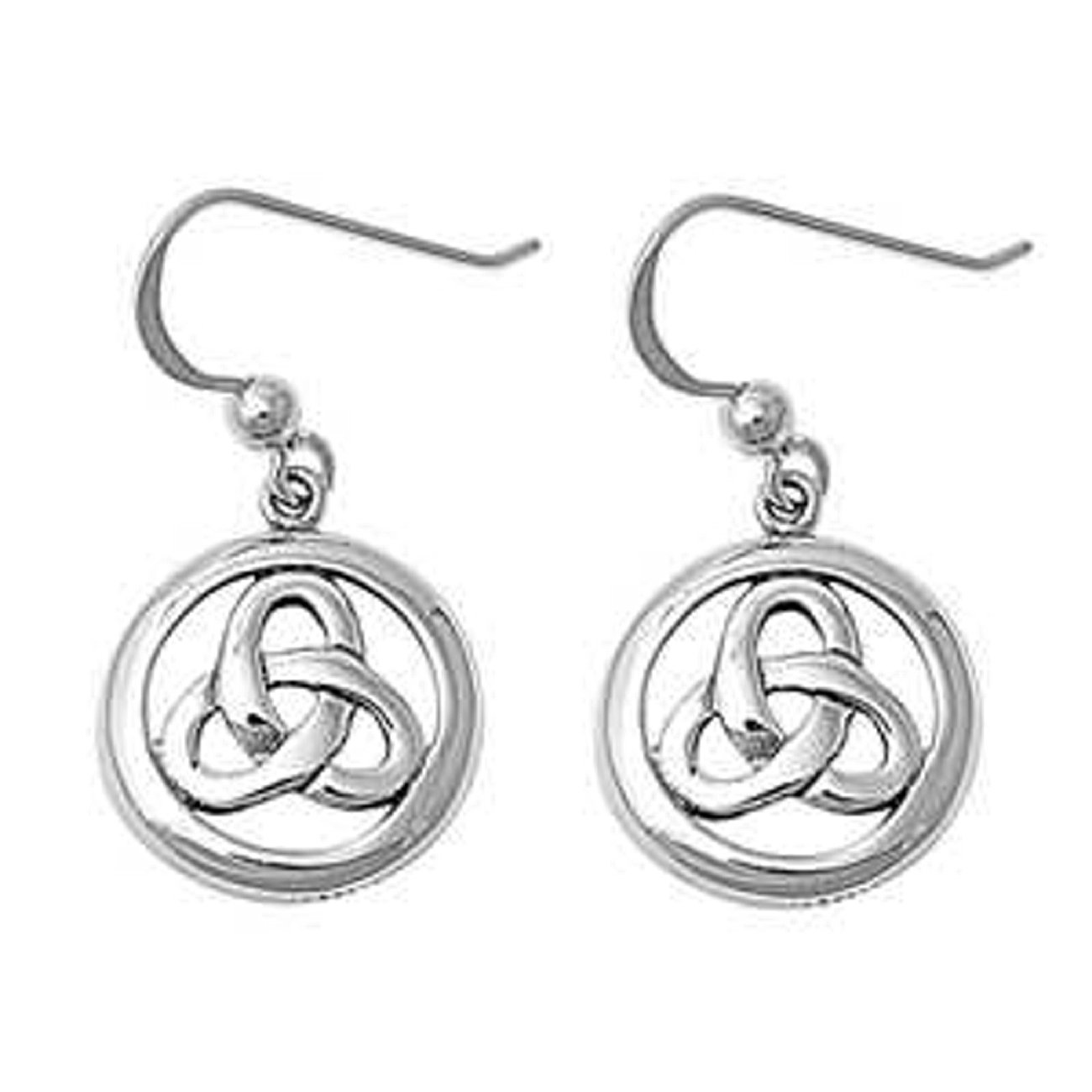 Sterling Silver 9//16 Celtic Trinity Knot Enclosed Within Circle Ring Drop Dangle Earrings