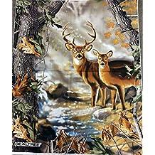 "36"" X 44"" Panel Realtree Deer Buck Doe Outdoors Wildlife Hunting Hunters Trees Leaves Fall Autumn Cotton Fabric Panel (9903)"