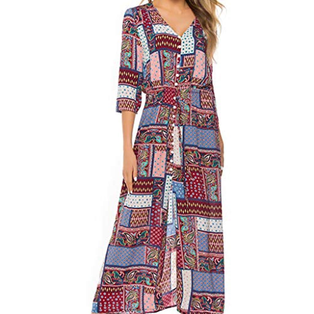 yijiamaoyiyouxia Fashion Women Boho Maxi Dress Print Patchwork Deep V Buttons Bandage 3/4 Sleeve Open Hem Beach Long Dress (M, Pink)