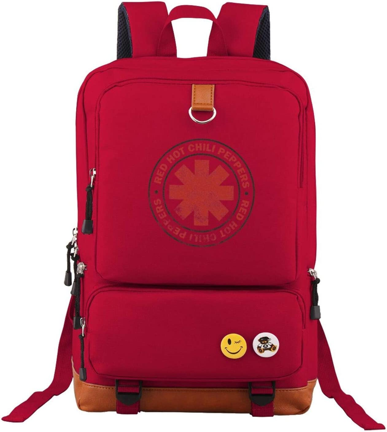 Red Unisex Red Hot Chili Peppers Backpack Vintage Laptop Backpack Anti-Theft Water Resistant Bag Casual College Backpack