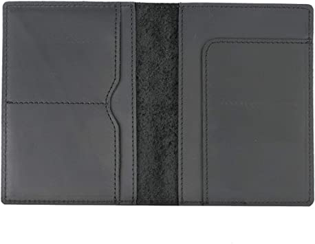 BLACK USA Genuine Cow Leather Passport Cover Travel Card Case Wallet