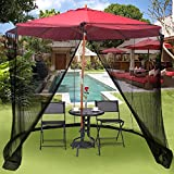 9 & 10 Ft Outdoor Umbrella Mosquito Netting - Solar Patio Umbrella Screen Mesh - Table Zippered Bug Net - Canopy Patio Furniture
