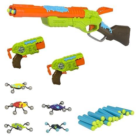Zuru - Bug Attack Rifle y 2 pistolas - 24 dardos y 5 Creepeez (ColorBaby