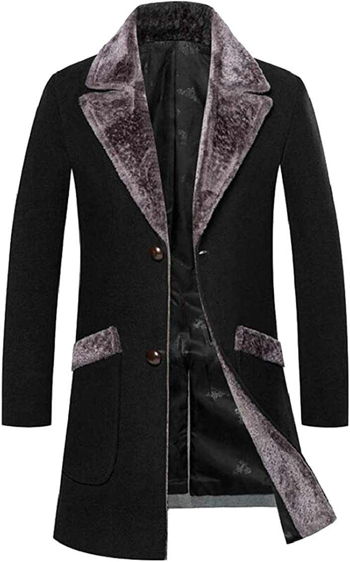 Mens Slim Thicken Faux Fur Collar Mid Long Wool Blend Trench Pea Coat