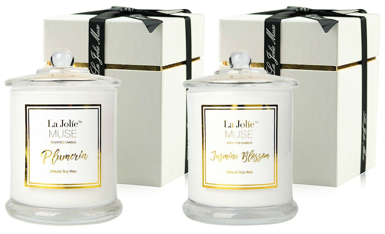 LA JOLIE MUSE Scented Candles Pack 2 Plumeria and Jasmine, 20 Ounce, 100% Soy Wax, Holiday for Women