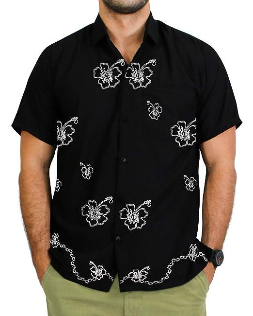 LA LEELA rayón Floral clásico Playa Bordado Camisa de Campo Hawaiana para  los Hombres  Amazon.es  Ropa y accesorios a9a4e1713dc4a