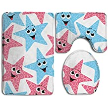 YU TING COOL Happy Star Non-Slip 3-Piece Bathroom Mat Set Bath Mat + Contour Rug + Toilet Lid Cover Washable Rubber Backing