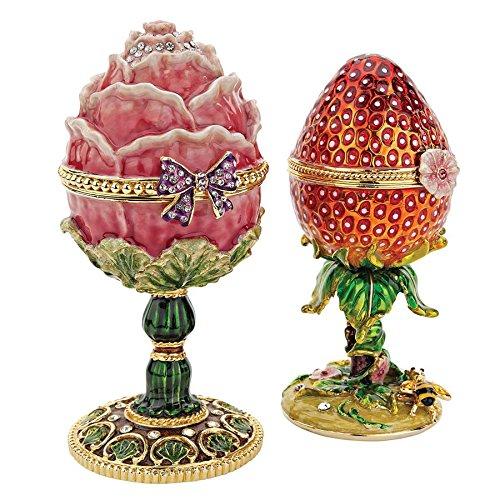 Design Toscano Garden Treasures Collection Romanov Style Enameled Eggs: Rose and Strawberry