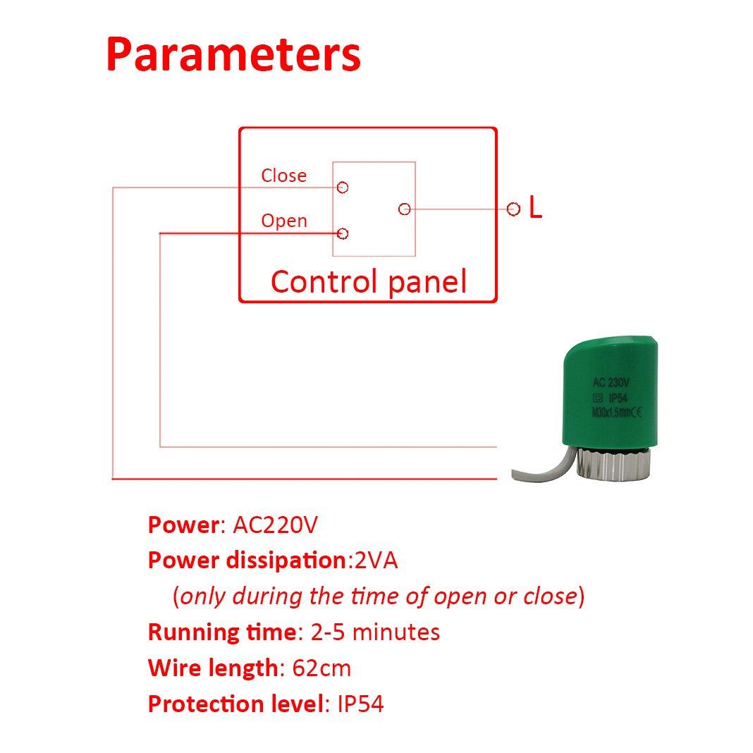 AC 220V AC//DC 24V NO NC 220V normalement ouvert ferm/é 24V normalement ouvert servomoteur thermique M28 x 1.5mm