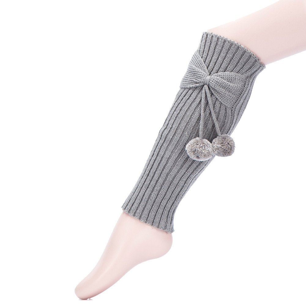 Robemon_Chaussettes Long Hautes Tricot Automne Hiver Crochet Cover Femme Doux Legging Pompon Chaussettes Bottes Au-Dessus du Genou