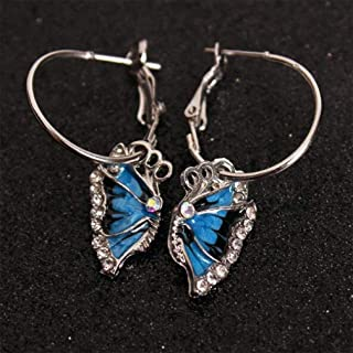 ningbao651 1 Pair of Personalized Blue Butterfly Earrings European And American Tassel Earrings Fashion Ladies Jewelry