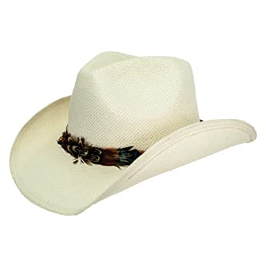 43890f57225 Peter Grimm Mendi Drifter White Toyo Straw Cowboy Hat at Amazon ...