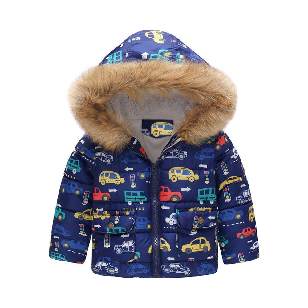 Jchen(TM) Infant Kids Little Girls Boys Cartoon Car Rainbow Winter Warm Jacket Hooded Windproof Outerwear Coat for 1-6 Y (Age: 18-24 Months, Blue)