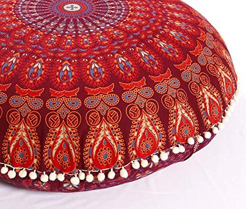 Popular Handicrafts Large Hippie Mandala Floor Pillow Cover - Cushion Cover - Pouf Cover Round Bohemian Yoga Decor Floor Cushion Case- 32