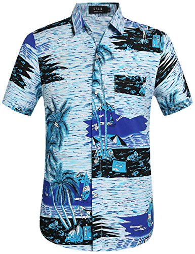 - SSLR Men's Tropical Holiday Button Down Casual Hawaiian Shirt (XX-Large, Blue)