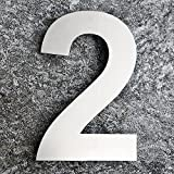 QT Modern House Number - EXTRA LARGE 10 Inch - Brushed Stainless Steel (Number 2 Two), Floating Appearance, Easy to install and made of solid 304