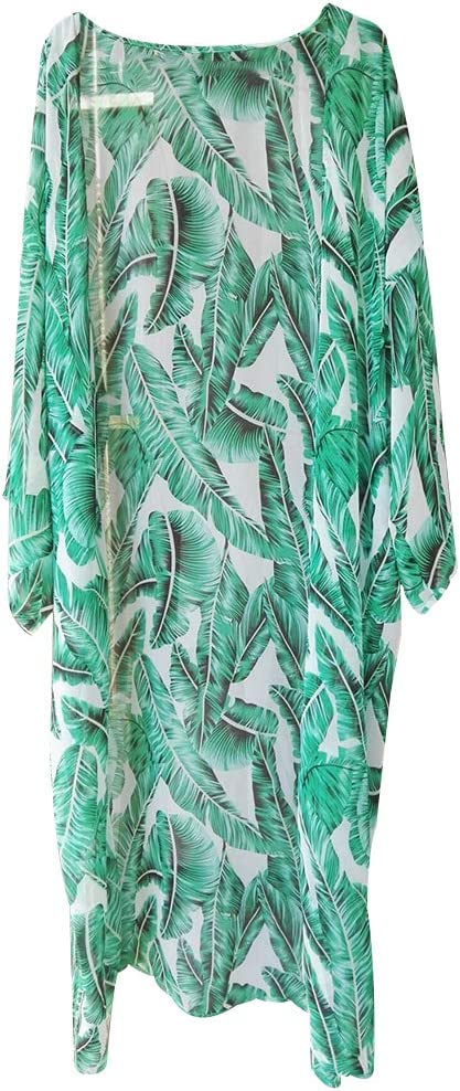 Green Leaf Print Mesh Swimsuit Cover