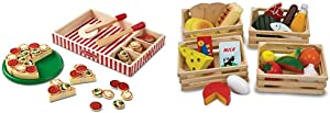 Melissa & Doug Pizza Party Wooden Play Food (Pretend Play Pizza Set, Best for 3, 4, and 5 Year Olds) & Food Groups - Wooden Play Food, The Original (Kids Toy Best for 3, 4, 5, and 6 Year Olds)