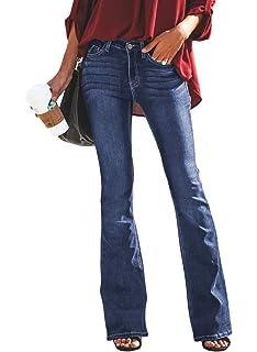 2a1f74fd71d9c BLENCOT Womens Classic High Waist Tassel Flare Denim Jeans Bell Bottoms  Pants