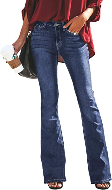 Glook Pantaloni Skinny Donna Jeans Donna a Zampa Elefante Vita Bassa Svasati Elasticizzati Stile Retro