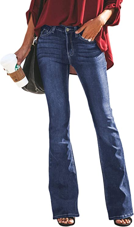 Wide Leg Jeans for Women Ripped Flare Jeans Mid Rise Fitted Denim Pants