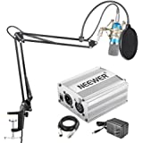 Neewer NW-700 Condenser Microphone Kit - Mic(Blue),48V Phantom Power Supply(Silver),NW-35 Boom Arm Stand with Shock Mount and Pop Filter(Black),XLR Male to Female Cable for Home Studio Recording