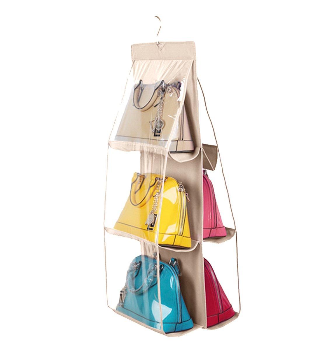 Vercord 6-Pocket Hanging Purse Handbag Tote Storage Holder Organizer Dust-proof Closet Wardrobe Hatstand Space Saver, Beige