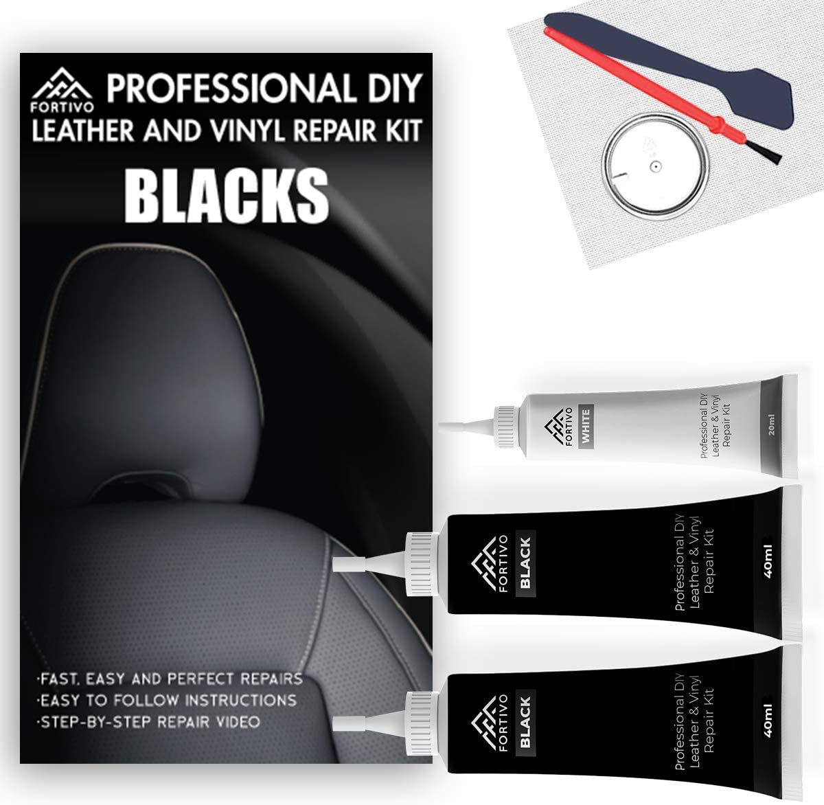 Black Leather and Vinyl Repair Kit - Furniture, Couch, Car Seats, Sofa, Jacket, Purse, Belt, Shoes | Genuine, Italian, Bonded, Bycast, PU, Pleather |No Heat Required | Repair & Restore