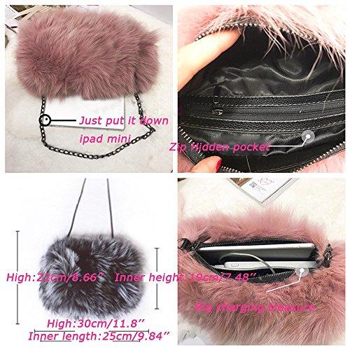 Gray Real Evening He Feather Shoulder Bag Fluffy Handbag Fur clutch Purse Yu Medium Lady Womens' qTw0x6wE