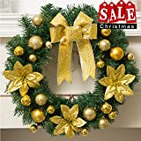 Dolloly Christmas Wreath for Front Door Artificial Garland Wall Decoration Christmas Party Decor (15.7'', Gold)