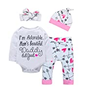 Baby Girl Clothes Cute Letter Romper + Arrow Heart Pants + Headband + Hat Newborn Girls Outfits 4pcs 18-24 Months