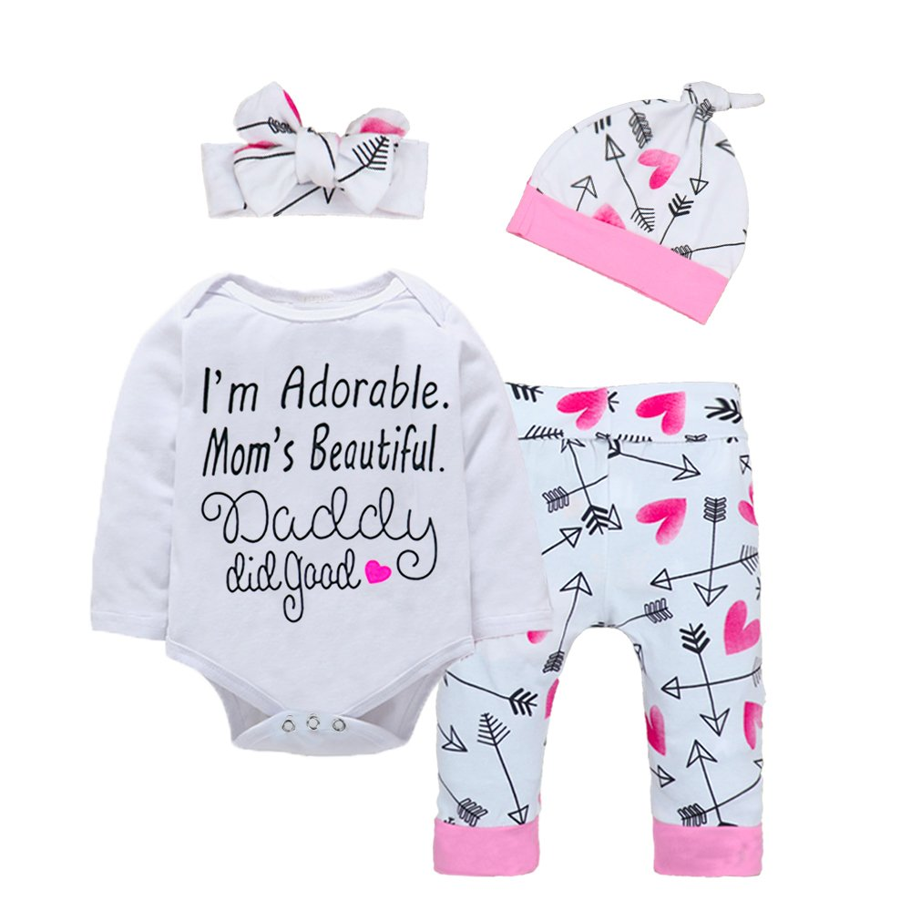 Newborn Baby Girls Clothes Floral I Am Adorable, Mom's Beautiful Bodysuit Romper +Pants +Headband+Hat Outfits