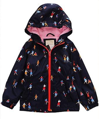 Amazon.com  Boys   Girls Hooded Floral Waterproof Rain Jacket Fleece Lined  Windbreaker Coat  Clothing bd803c662