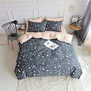 Queen Duvet Cover Cotton Bedding Set Gray Flowers Branches Printing,Reversible Peach and Gray Duvet Cover Set-Ultra Comfy,Breathable,Zipper Closure-Branches,Full/Queen